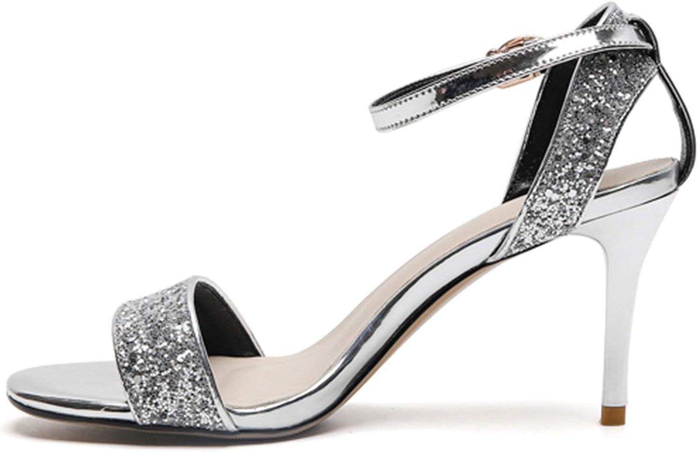 Houfeoans Mode Thin High klackar klackar klackar Bling Sandals Kvinnliga skor Koncise Date Party Sandals skor  billig grossist
