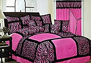 7-Piece Safari Zebra & Giraffe Print Comforter Set Micro Fur Bed In a Bag (Pink, Queen)