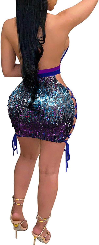 Rela Bota Women's Sequin Mini Bodycon Dress Sexy Deep V Neck Glitter Party Dresses Clubwear