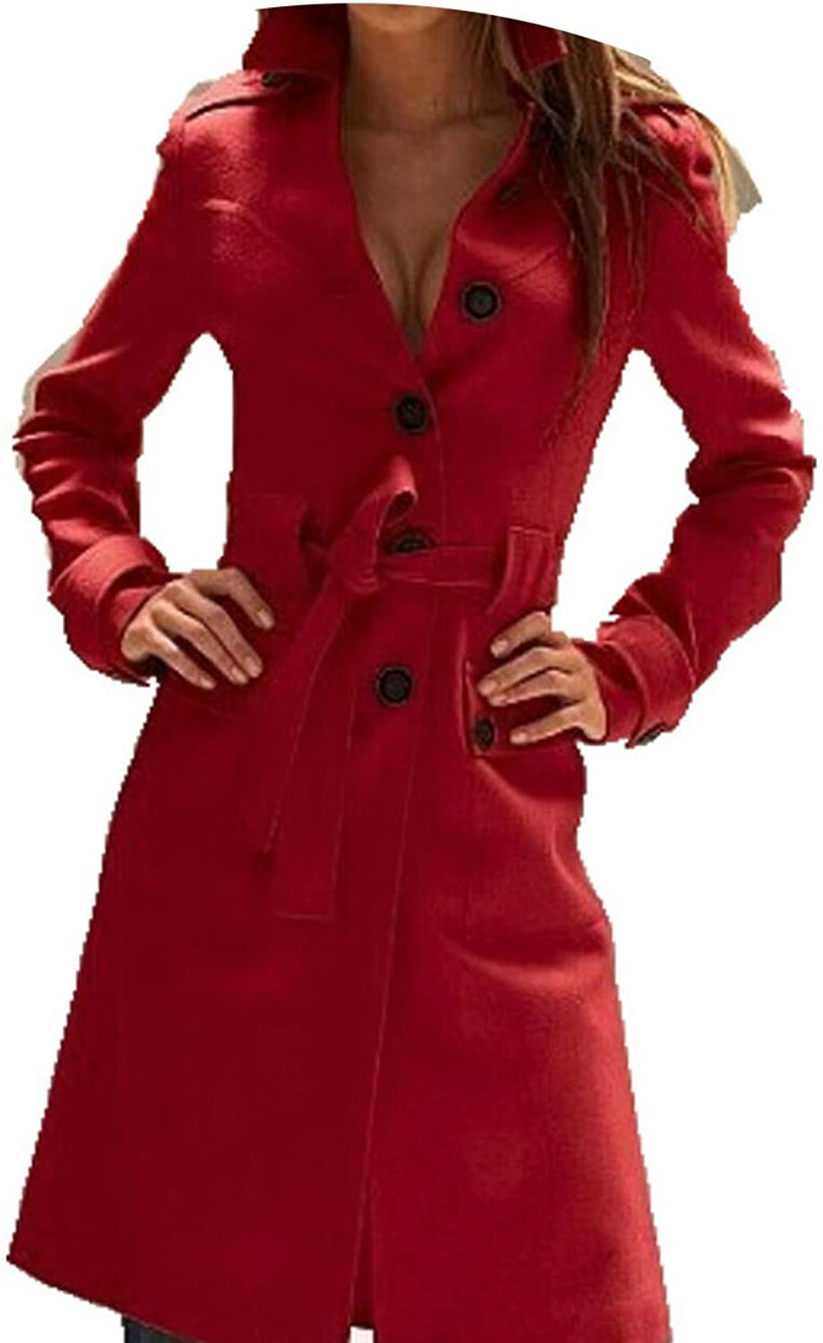 Fashion Long Trench Coat for Women Women's Wool Blend Overcoat Single Breasted Trenchcoat