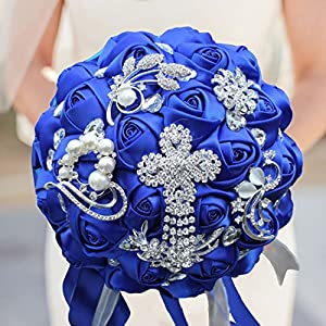 S-SSOY Romantic Wedding Bouquets Silk Flowers Bridal Holding Roses Bride Bridesmaid Bouquet with Pearl Diamond Ribbon Valentine's Day