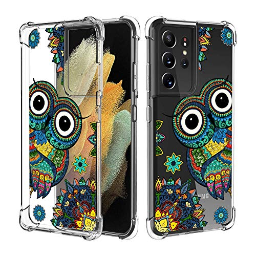 Compatible with Samsung Galaxy S21 Ultra Case for Women Girl Clear with Design,Slim [Shock-Absorbing] Protective Cover Case for Samsung Galaxy S21 Ultra (Owl)