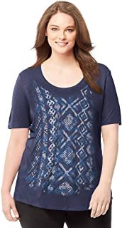 Just My Size Womens Plus-Size Short-Sleeve Scoop-Neck Graphic T-Shirt, J350 Navy Heather XXXXX-Large