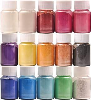 DEWEL Colorants pour Savon Mica Poudre 15 Couleur Peinture de Savon de Couleur Résine Epoxyde Pigment de Poudre pour DIY F...