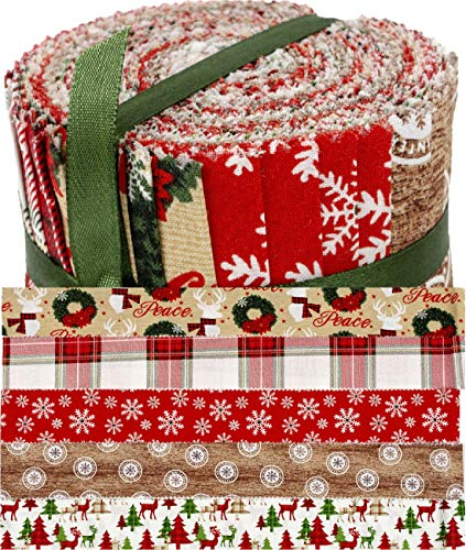 """Christmas Designs Jelly Roll Cotton Fabric 20 Strips 2.5''x 42"""" 100% Cotton Fabric 5 Designs"""