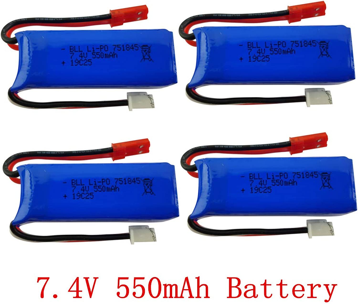 Fytoo 7.4V 550mAh Lithium Battery for wltoys K969 K979 K989 K999 P929 P939 High-Speed Remote Control car Accessories high-Rate Lithium Battery (4PCS)