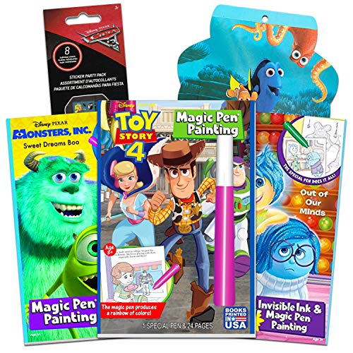 Disney Invisible Ink Activity Book Set for Kids Toddlers -- 3 Disney Pixar Travel Activity Books Featuring Toy Story, Inside Out and Monsters Inc with Invisible Ink Pens