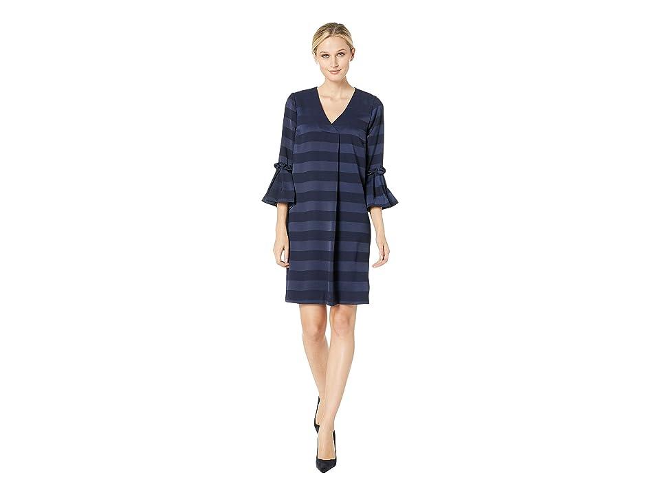 eci Stripe V-Neck 3/4 Sleeve w/ Pleated Details (Navy) Women