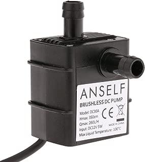 ANSELF - Bomba de Agua - Aceite - Líquido para Fuente Sumergible Acuario Circulación Impermeable & Sin Cepillo (Max.Lift:3.5m-DC12V-5W-Mini micro)