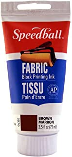 Speedball 003576 Fabric Block Printing Ink – Premium Fabric Block Printing Ink 2.5 FL OZ (75CC), Brown