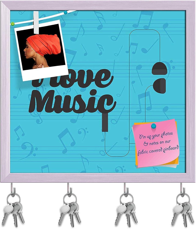 Artzfolio Music Concept Design D13 Key Holder Hooks   Notice Pin Board   White Frame 17.2 X 16Inch