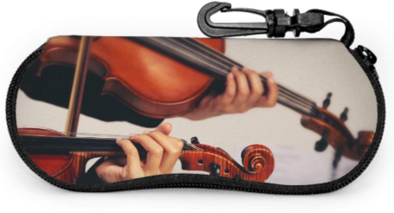 Hand On The Strings Of A Violin Zipper Eyeglass Case For Kids Men Sunglass Case Light Portable Neoprene Zipper Soft Case Cute Eyeglass Case
