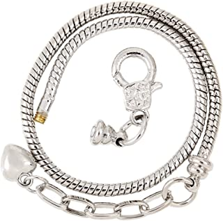 RUBYCA 10pcs Silver Color Heart Lobster European Style Snake Chain Bracelets fit Charm Beads 6.3