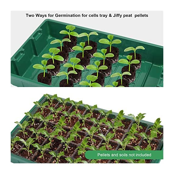 """MIXC Seedling Trays Seed Starter Tray, 5-Pack Mini Propagator Plant Greenhouse Grow Kit with Humidity Vented Domes and… 2 High quality transparent plastic cell trays of this seed grow kit make it easy to observe your plants without interrupting the process. Adjustable vents on the humidity dome of this seed starter kit allow you to regulate the temperature and humidity of your seedling environment, so you have total control over the growing process. Please read the size of each parts carefully. Cells size: 1.5""""x 1.5""""x 2""""(suitable for small seeds); Dome height: 2.75""""; Product size: 14.6""""x 9.84""""x 5.1"""""""
