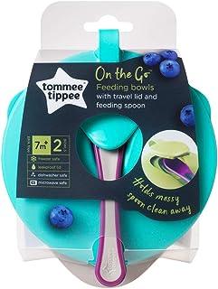 Tommee Tippee Tt446718 Explora Easy Scoop Feeding Bowl Lid And Spoon - Blue & Green