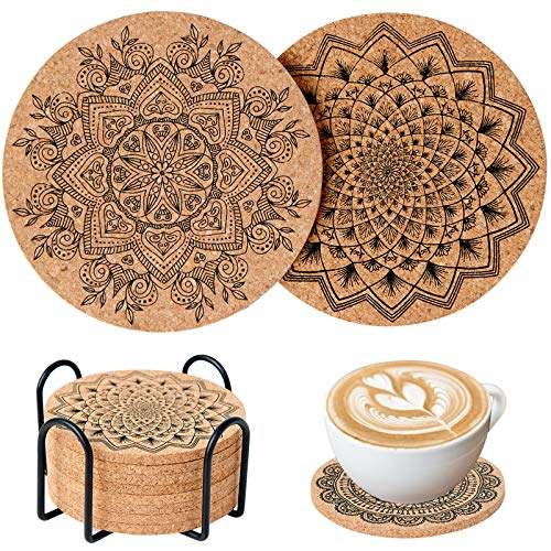 Coasters for Drinks, 8 Pieces Cork Coasters for Drinks Absorbent, Best Reusable Natural Round Coasters for Bar Glass Cup Table, Water Absorption, Non-Slip, Anti-Scalding