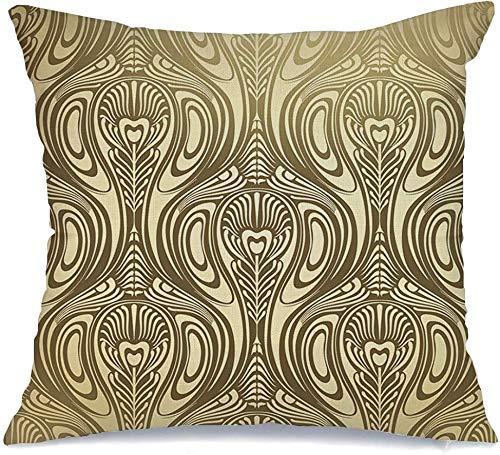 Decoración Throw Pillow Cover Funda de cojín Patrón Lujo Nouveau Resumen Pluma Contorno Flor Antiguo Pájaro Creativo Vintage Silueta Funda de Cojine 45 X 45CM