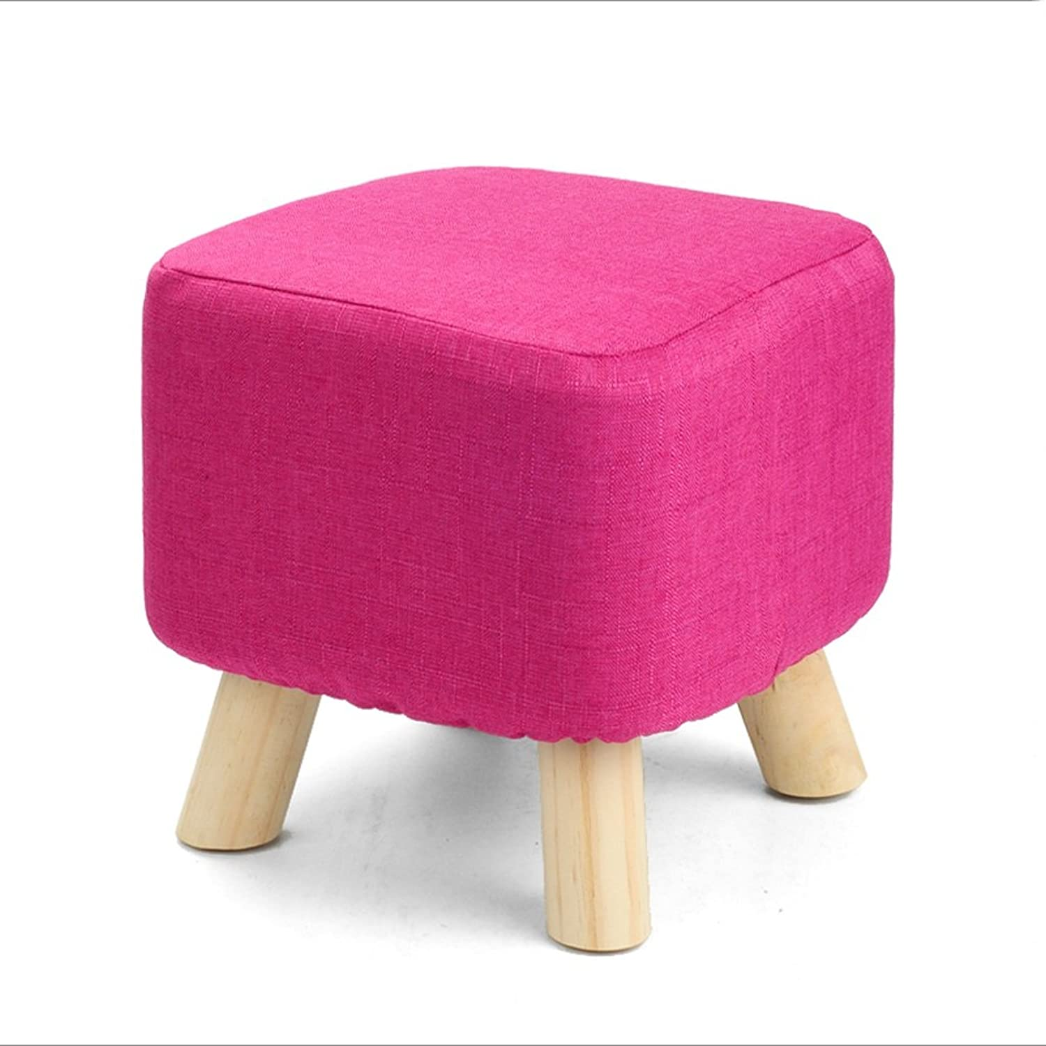 Solid Wood shoes Bench Creative Stool Fabric Sofa Stool Sofa Bench Simple Bench(L28cmW28cmH28cm) (color   Pink)
