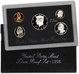 1998 S U.S. Silver Proof 5 Coin Set in Original Box with Certificate of Authenticity Proof