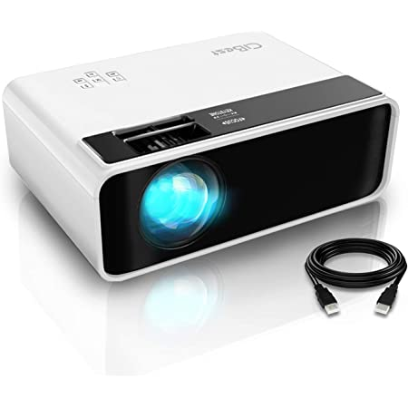 """Mini Projector, CiBest Video Projector Outdoor Movie Projector, 4200 lux LED Portable Home Theater Projector 1080P and 200"""" Supported, Compatible with PS4, PC via HDMI, VGA, TF, AV and USB (Renewed)"""