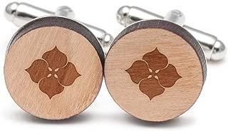 Wooden Accessories Company Hydrangea Cufflinks, Wood Cufflinks Hand Made in The USA