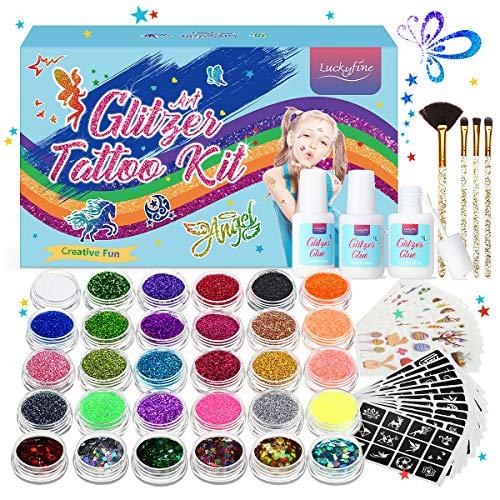Glitzer Tattoo Set, Luckyfine 30 Glitzertuben & 133 Schablonen & 10 PCS Tattoo Aufkleber &4 Bürsten & 3 Kleber, Party Tattoos, Halloween, Geschenk für Kinder