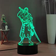 Laysinly Roronoa Zoro 3D Night Light for Kids, Japanese Anime ONE Piece USB Touch Remote LED Night Light, 7 Colors Desk La...