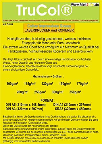 Beidseitig 125 Blatt Fotopapier Colour Laser DIN A4 200g /m² doppelseitig hochglänzend (High Glossy) Einzigartigem Glanzeffekt mit hoher Weiße + Glätte für Farblaserdrucker Farbkopierer Laserdrucker Kopierer