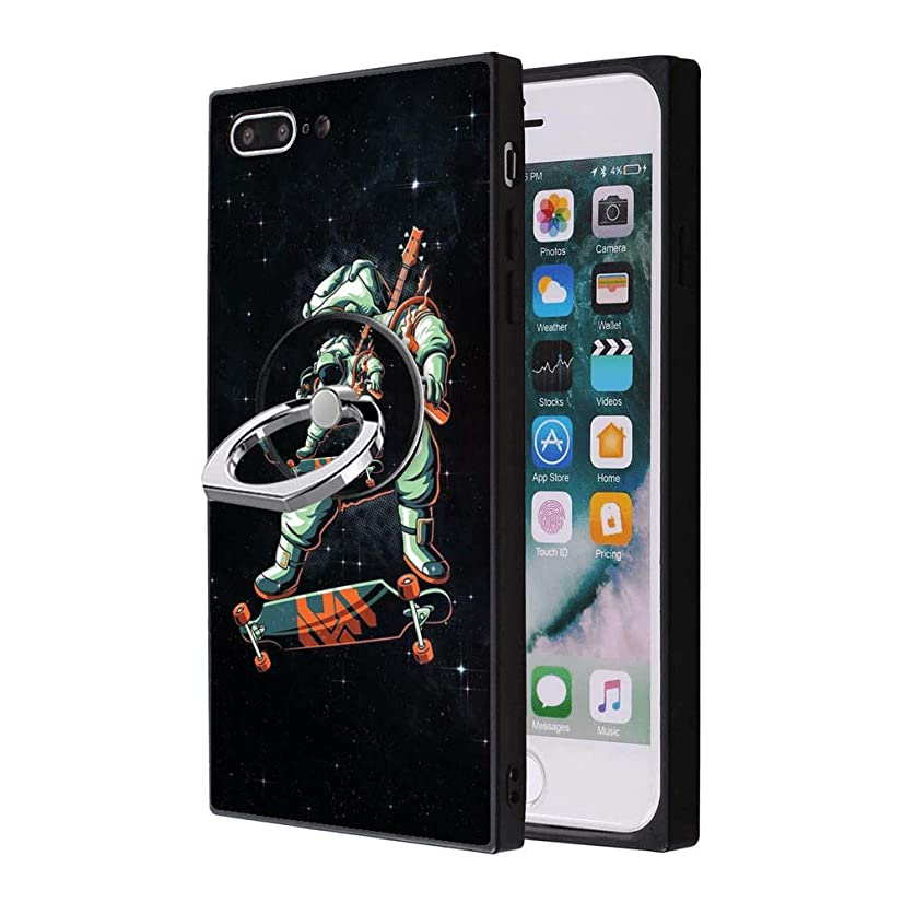 Black iPhone 7 8 Case with Ring Holder Stand Astronaut Guitar Skateboard Pattern 360 Rotation Ring Grip Kickstand Soft TPU and PC Anti-Slippery Design Protection Bumper for iPhone 7 8