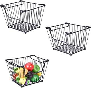 Iusun Wrought Iron Storage Basket Fruit and Vegetable Home Living Room Decoration Desktop Multipurpose Container Supplies 9.84x11.8x8.66''-Ship from USA