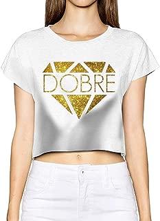 Dobre Diamond Women Basic Short Sleeve Crop Top Cotton Scoop Neck Shirt Black