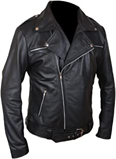 Flesh & Hide F&H Men's The Walking Dead Negan Genuine Leather Jacket L Black