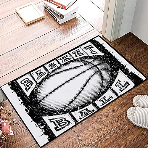 QDYLM Alfombra de baño de Microfibra esponjosa,Baloncesto Pelota Inscripción Acción Deportes Recreación Atleta Ataque Baller Basket Champ alfombras de Ducha de Suave Absorbente de Agua, 40x60 cm
