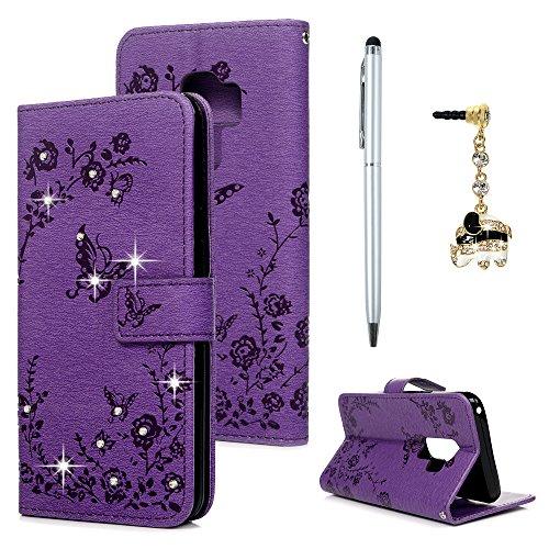 Case für Samsung Galaxy S9 Plus Hülle Diamant Schmetterling Handyhülle Flipcase Wallet Case Cover Bookstyle Stand Kartenetui Schutzhülle PU Leder Karteneinschub Magnetverschluß Tasche Lila
