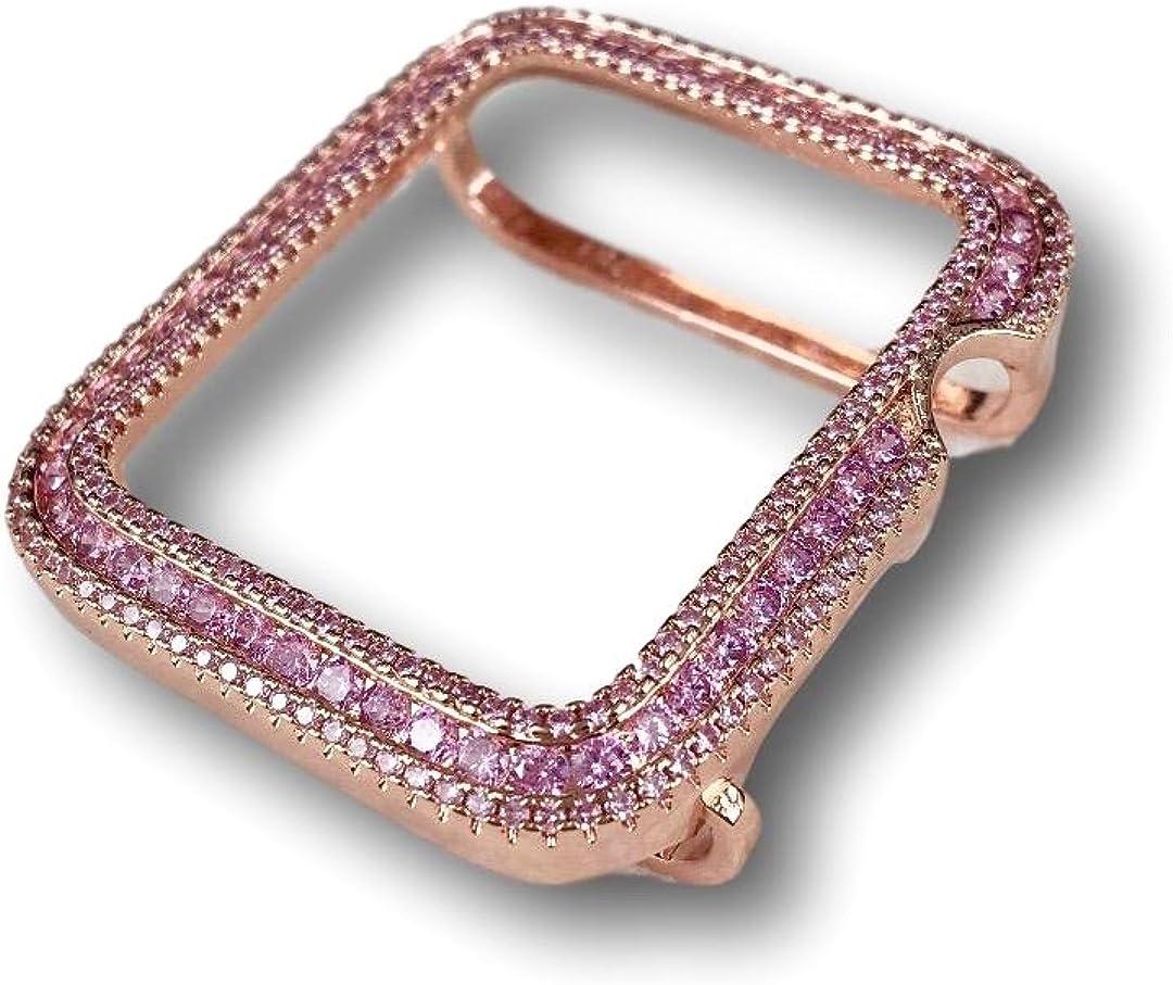 EMJ Series 1,2,3 Apple Watch Bezel Case Rose Gold Finish Pink Zirconia 38 / 42mm
