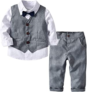 Zerototens Boys Outfit Set,0-24 Months Newborn Clothes Toddler Baby Long Sleeve Bow Tie Gentleman Top Button Shirt Pants Wedding Party Evening Formal Suit Clothes