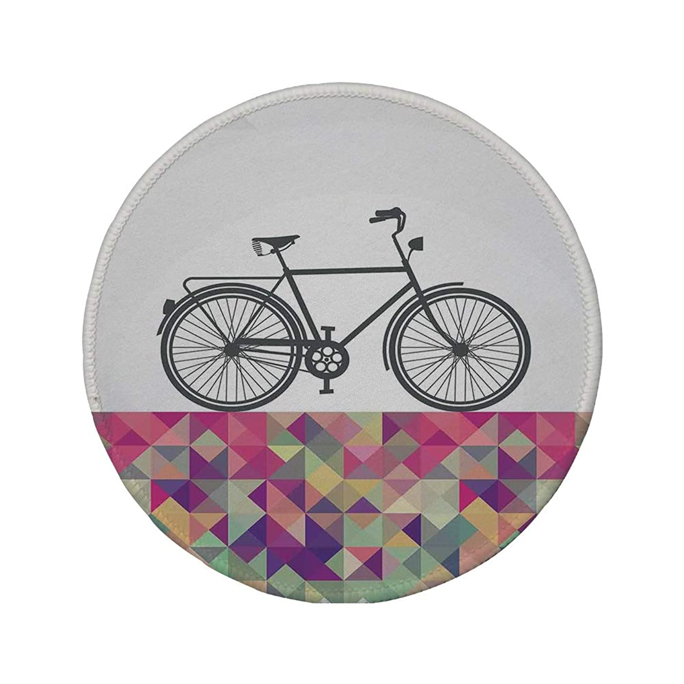 Non-Slip Rubber Round Mouse Pad,Geometric,Vintage Style Bike Over Multicolor Diamond Shaped Backdrop Triangles Hipster,Multicolor,11.8