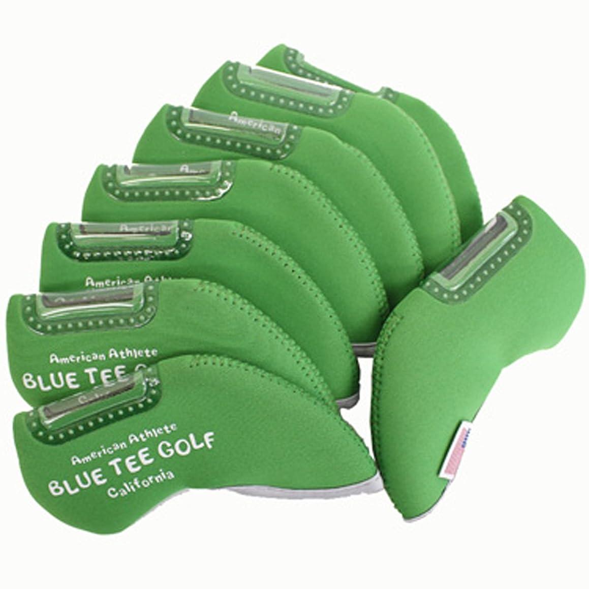 正午吸う著者ブルーティーゴルフ BLUE TEE GOLF ヘッドカバー ストレッチアイアンカバーセット(窓付きタイプ) 1セット(8個入り) グリーン