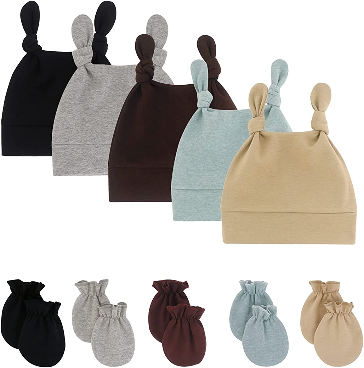 Newborn Infant Baby Boys Mittens Beanie Hats Gift Set Cotton Gloves Skull Caps for 0-12 Months Unisex Baby Girls