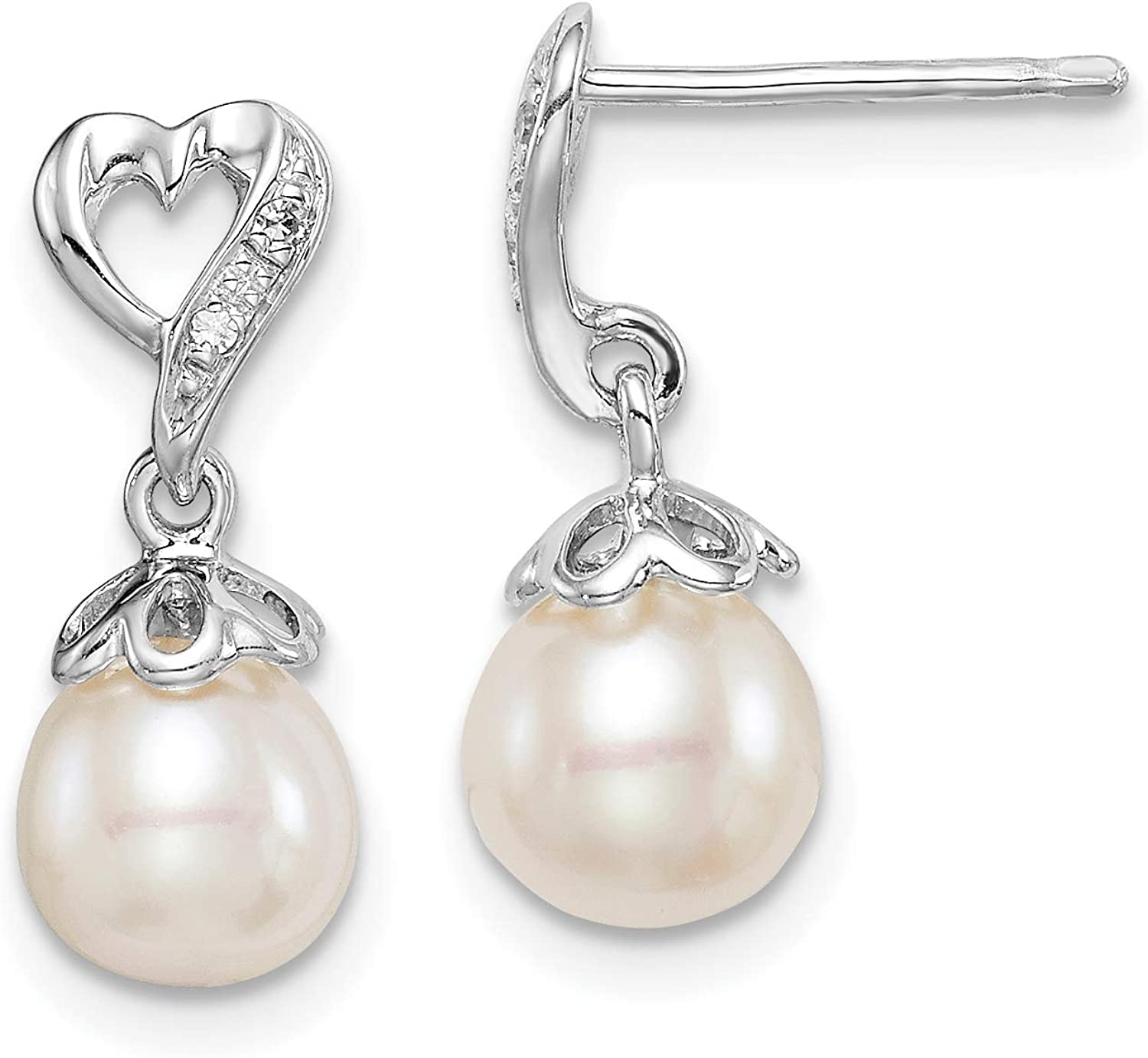 925 Sterling Silver Rhod Plated Diamond and Cultured Pearl Post Dangle Ear