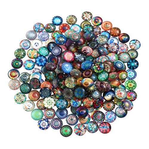 IMIKEYA 100 Piezas de Mosaico de Vidrio Impreso Artesanía Media Redonda Mosaico de Vidrio Cabujones de Vidrio para Manualidades DIY Fabricación de Joyas Colgantes