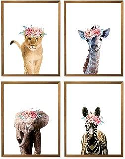 Safari Floral Animal Prints, Floral Crown Nursery Art, Giraffe, Elephant, Zebra, Lion, Animal Poster, Safari Animal Nursery Art, Animals Flower Crown, Girls Room Décor, Set of 4-8x10 – Unframed