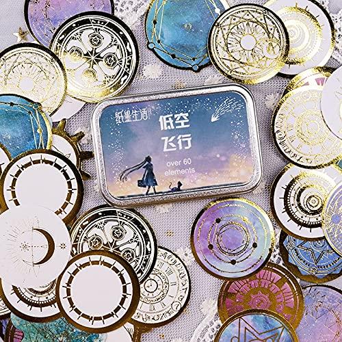 PMSMT 60 unids/Caja fantasía Cielo Estrellado Dorado Pegatinas de álbum de Recortes Mini álbum de Bricolaje Diario Etiqueta Decorativa Pegatinas Kawaii papelería