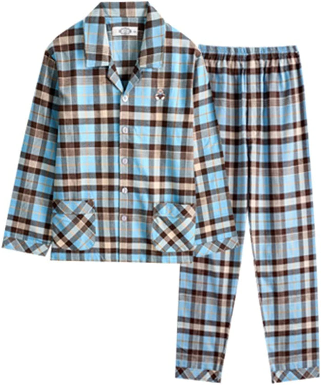 Pajama Sets Pajamas Men's Long-Sleeved Cotton Couple Pajamas Two-Piece Suit Cotton Plaid Home Service Spring and Autumn Pajama Sets (color   bluee, Size   XL)