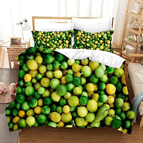 Meimall Juego De Ropa De Cama Cian Fruta Limón 180X220 Cm Reversible, 100% Microfibra Suave Y...