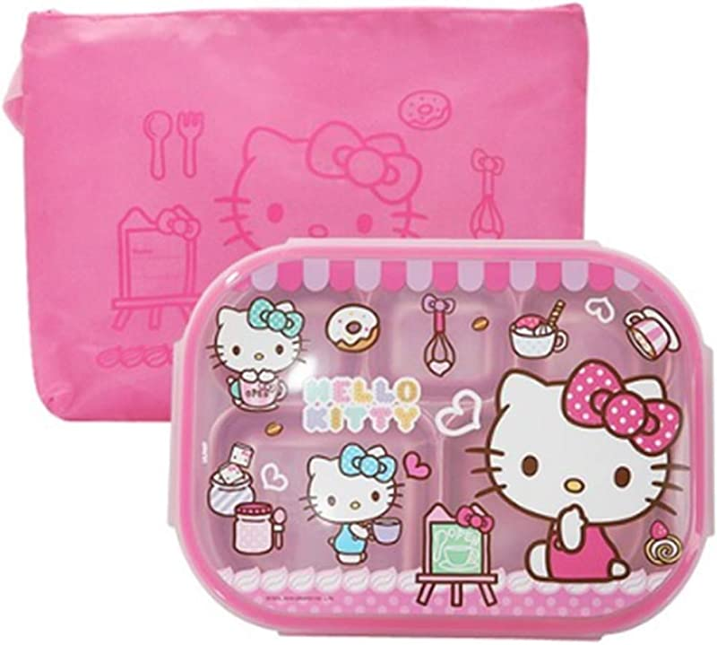 Hello Kitty Stainless Steel Divided Plate Kids Toddlers Babies Tray BPA Free Diet Food Control Camping Dishes Compact Serving Platter 5 Compartment Plate Silver With Lid And Pink Pouch