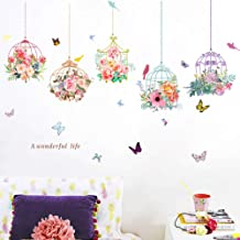 Colorful 3D Birdcage Butterfly Flower Wall Decals DIY Plants Mural Wall Stickers for Living Room Kids Bedroom Nursery Sofa Background Wall Decoration(Bird Cage)