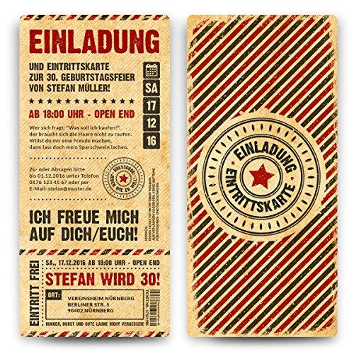 Einladungskarten zum Geburtstag (10 Stück) als Eintrittskarte im Grunge / Vintage-Look Ticket Karte