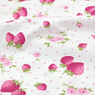 Strawberry Cotton Fabric by The Yard, 100% Cotton, 39