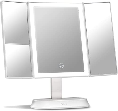 Fancii Makeup Mirror with Natural LED Lights, Lighted Trifold Vanity Mirror with 5X & 7X Magnifications - Dimmable Li...